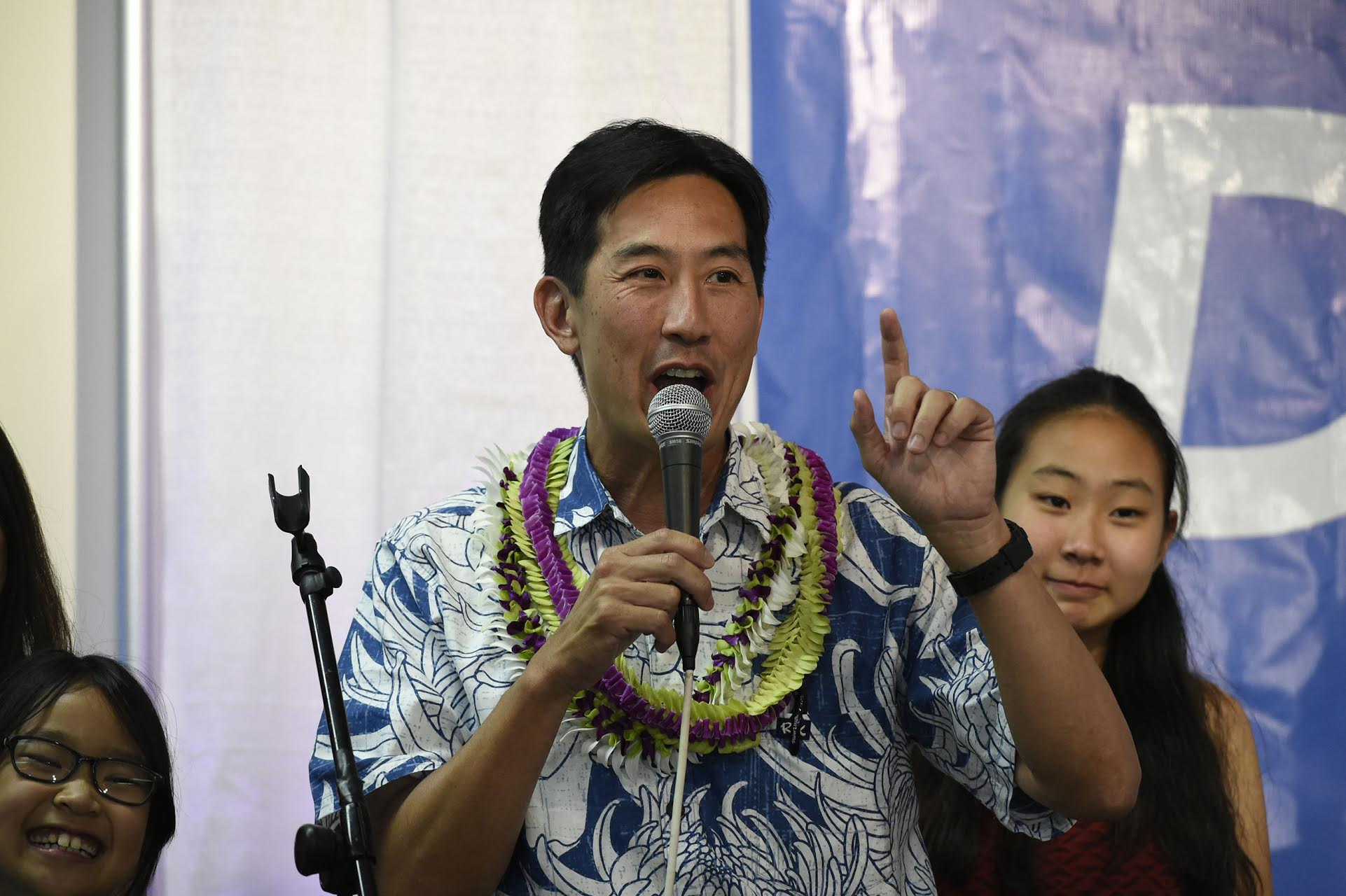 "<p>""Let's bring the city government that we deserve to Honolulu,"" Charles Djou said to his supporters as the night wore on and it became clear he was headed for a November runoff with Kirk Caldwell. (Ronen Zilberman/Civil Beat)</p>"