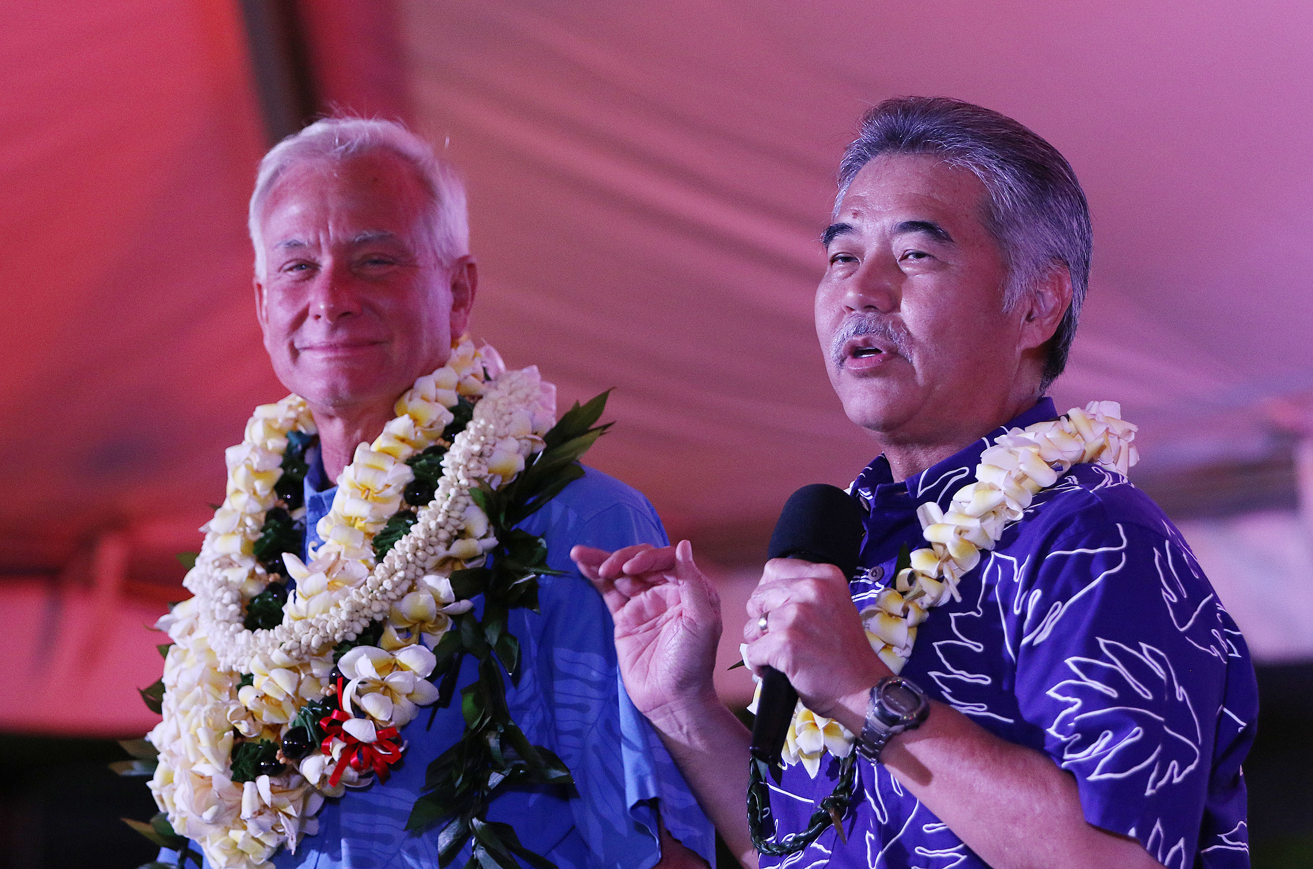 "<p>Hawaii Gov. David Ige joined Kirk Caldwell onstage. Ige said he'd told his wife, Dawn, ""Kirk's going to surprise a lot of people tonight."" Later, the governor noted that November will bring the ""true battle."" (Cory Lum/Civil Beat)</p>"