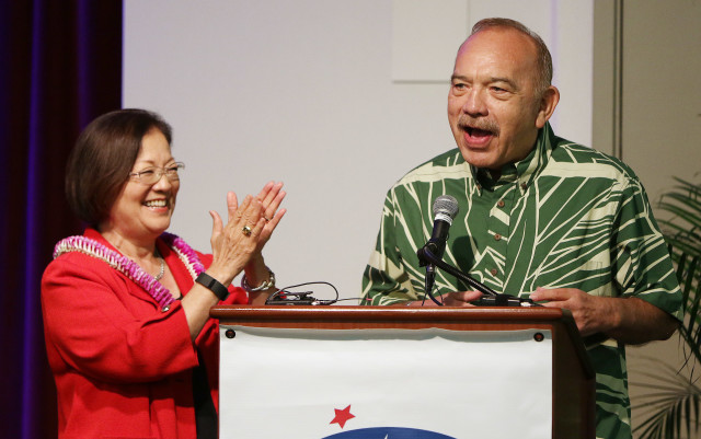 Senator Mazie Hirono and Governor John Waihee speak jointly about Democratic party presidential candidiate Hillary Clinton at the Hawaii Democratic Party Unity breakfast held at the Dole Cannery ballroom. 14 aug 2016