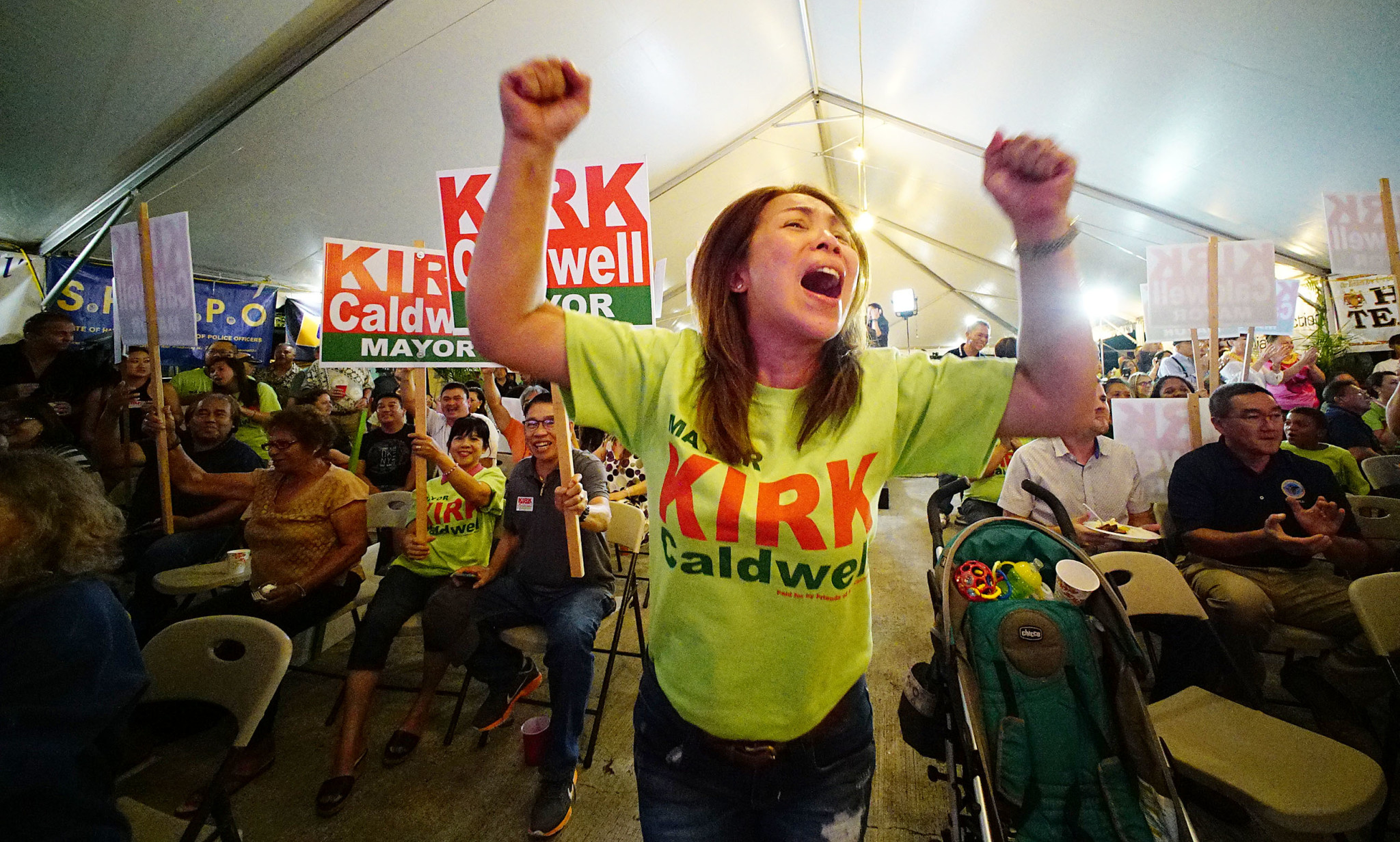 <p>Kirsty Agbayani screamed her support as a second round of returns showed Mayor Kirk Caldwell maintaining his narrow lead. (Cory Lum/Civil Beat)</p>