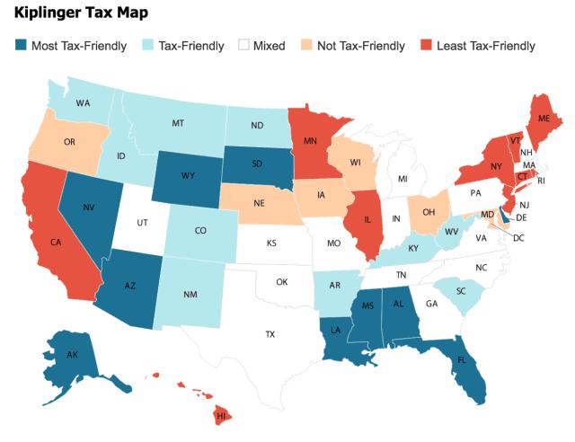 Kiplinger map on taxes in Hawaii