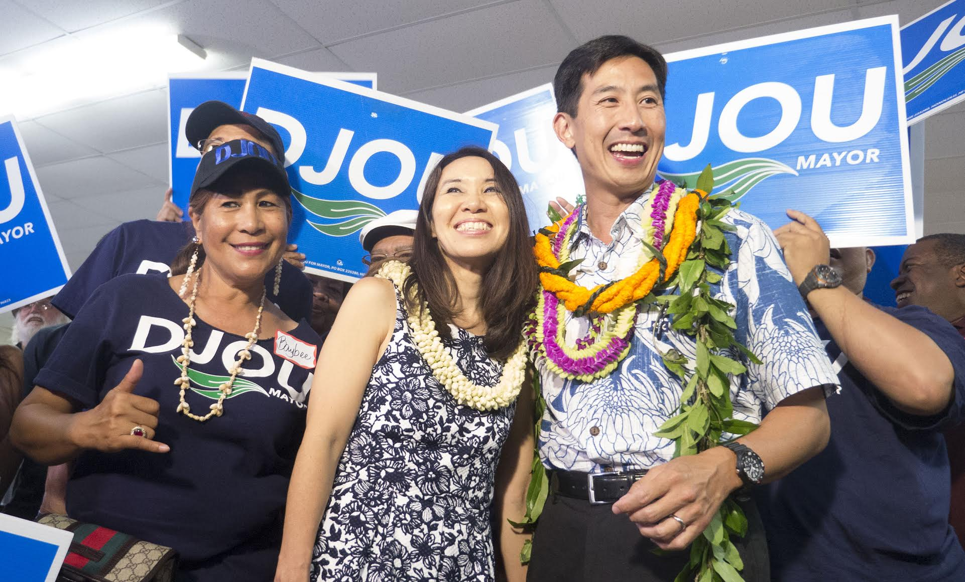 <p>Charles Djou was joined by his wife, Stacey, for the evening's festivities. (Ronen Zilberman/Civil Beat)</p>