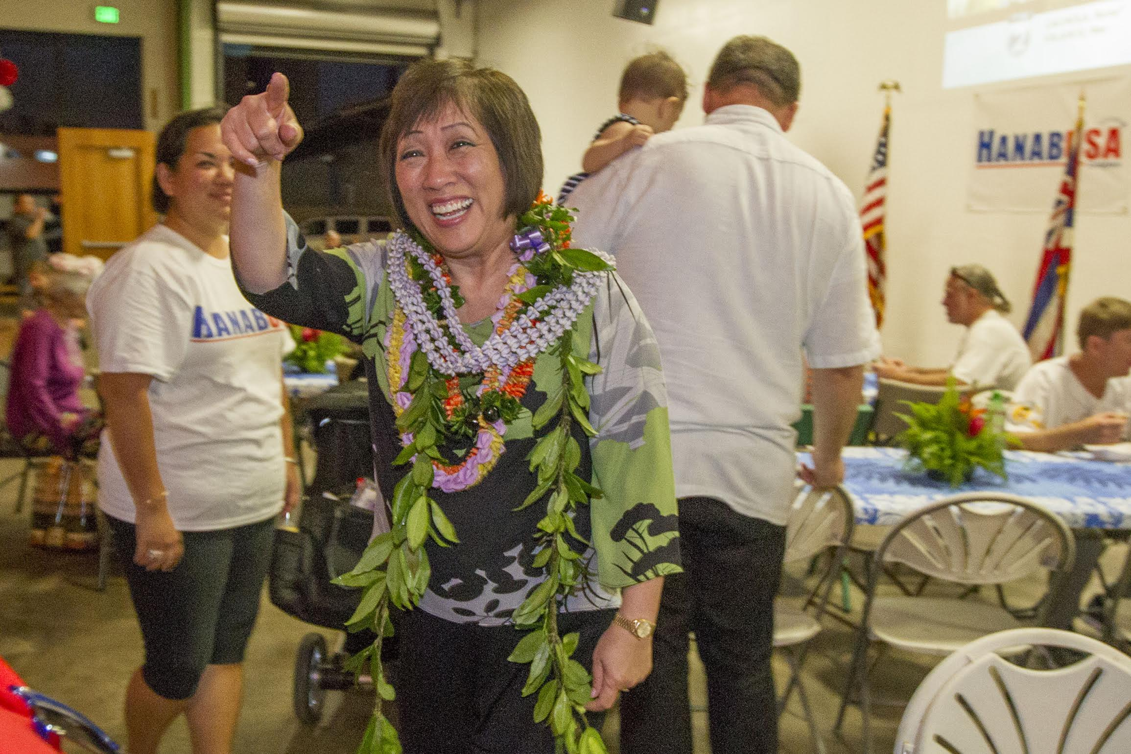 <p>The night held no suspense for Colleen Hanabusa, winner of the Democratic primary for the 1st Congressional District. (Eugene Tanner/Civil Beat)</p>