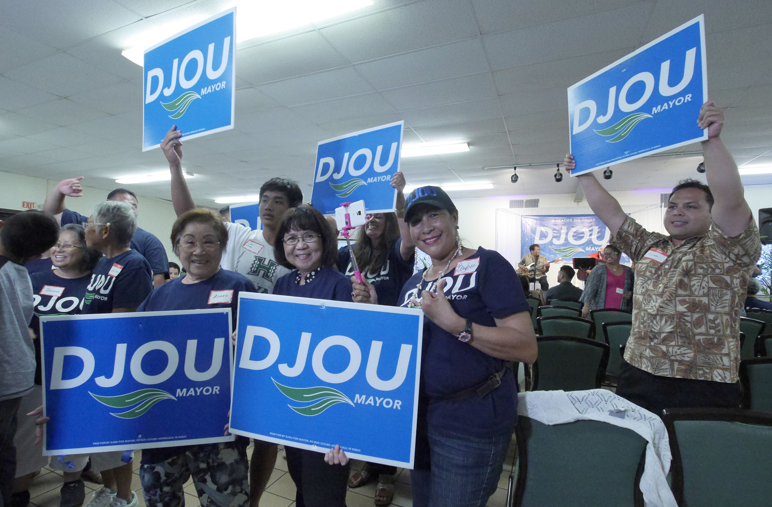 <p>The race was close all night, and Charles Djou supporters also celebrated early returns. (Ronen Zilberman/Civil Beat)</p>