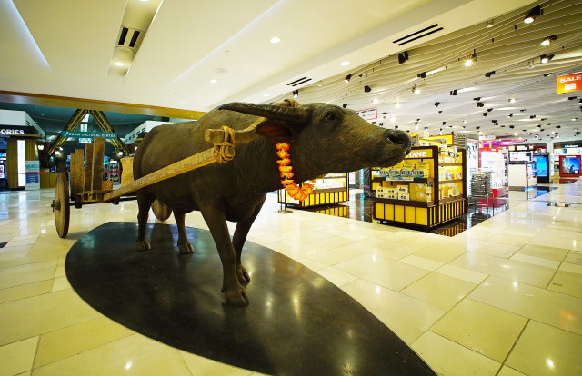 Guam Airport chamorro oxen cart in the duty free shop. 23 aug 2016