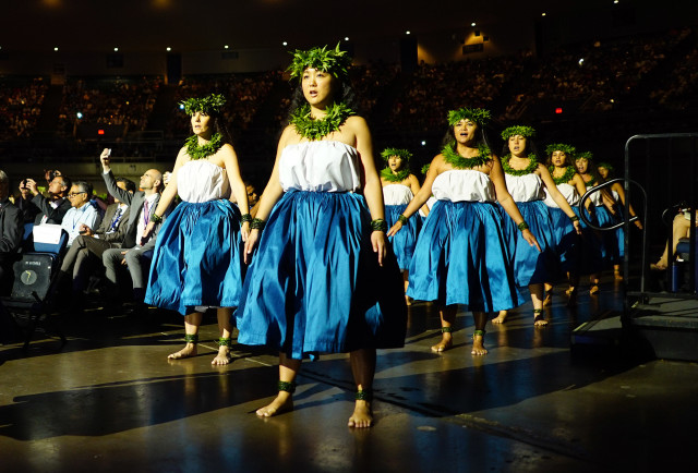 Dancers perform in the during the IUCN opening ceremony held at the Neal Blaisdell Arena. 1 sept 2016
