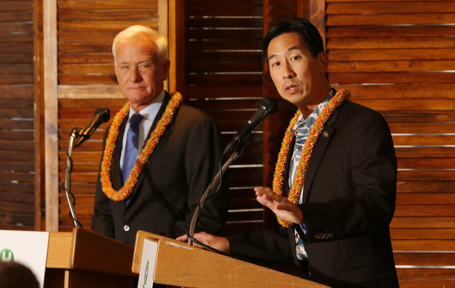 Honolulu Mayoral candidate Charles Djou debates Mayor Kirk Caldwell debate held at the Plaza Club. 29 sept 2016