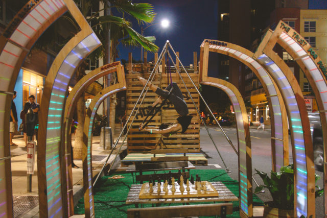 "Push Design's mini park, called Paiko ""Park,"" was located outside Paiko on Auahi Street."