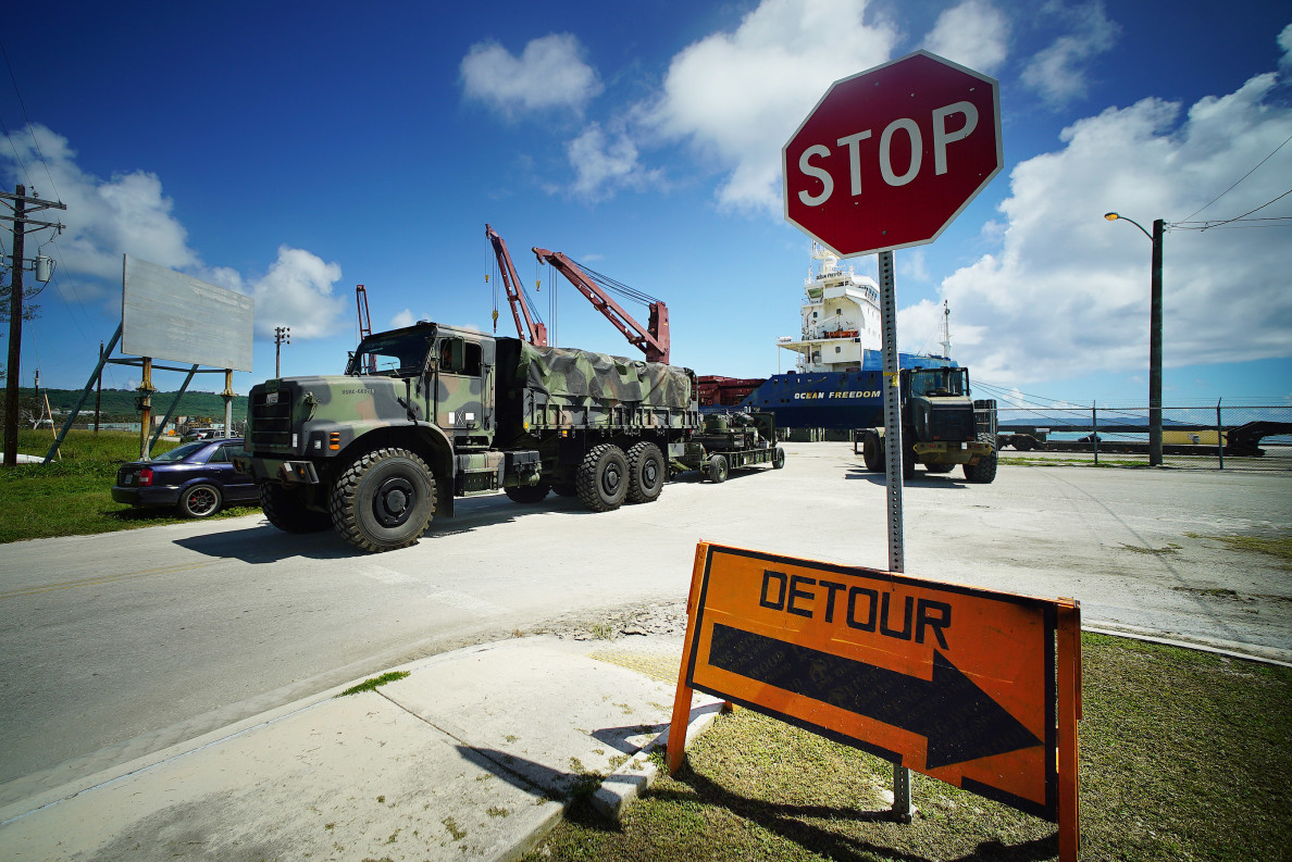 US Military truck drives away from the Tinian Port area headed North to the military exercise staging area. 27 aug 2016