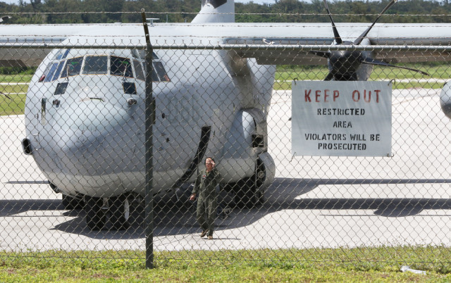 Tinian airport C130. we lucked out in getting any military on the island. 28 aug 2016