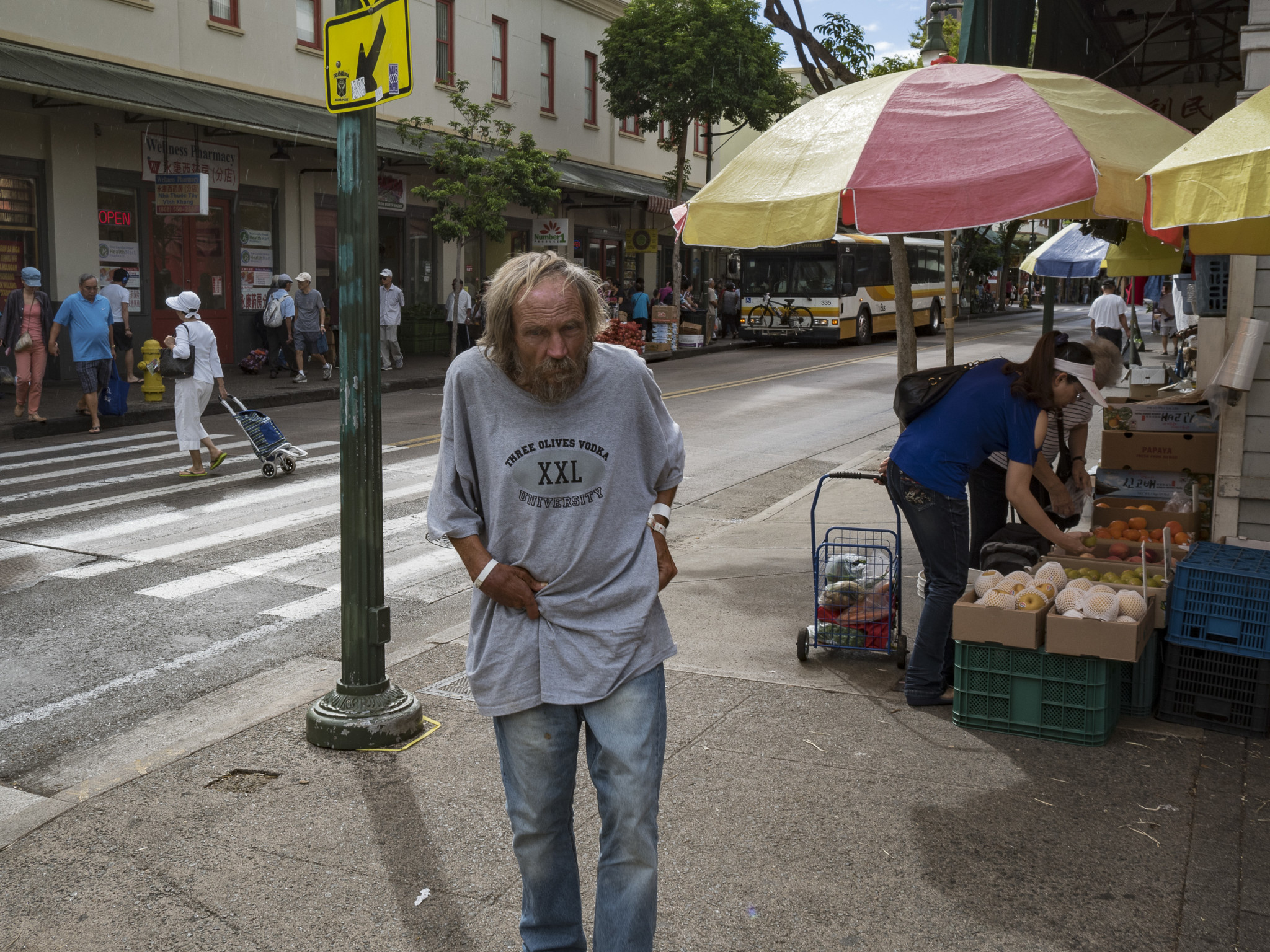<p>Homeless people are plentiful on the Chinatown streets.</p>