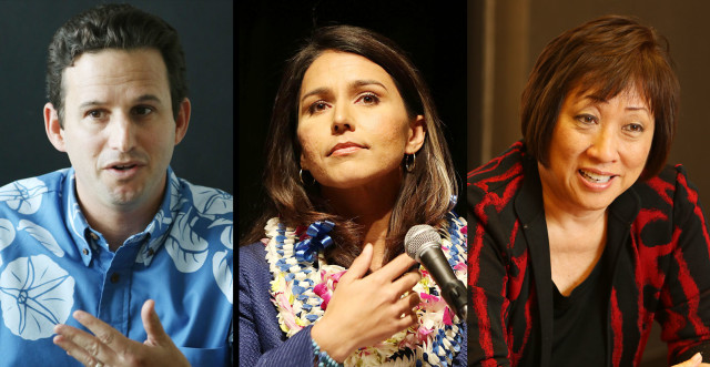 From left, U.S. Sen. Brian Schatz, Rep. Tulsi Gabbard and Colleen Hanabusa.
