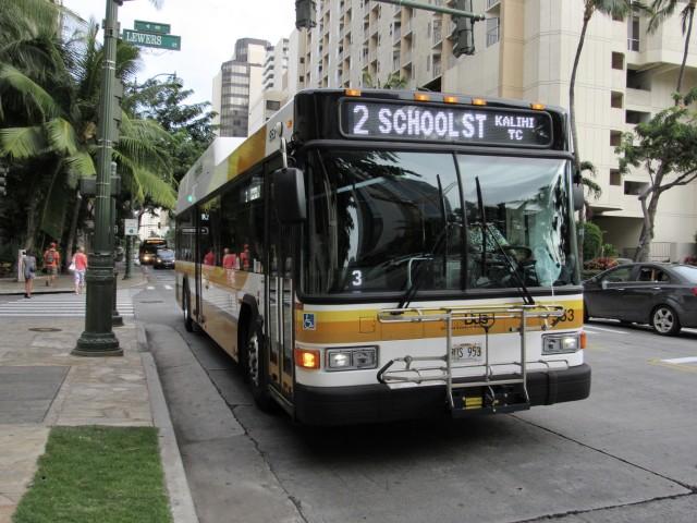 Route 2 transports passengers from Kalihi to Kapiolani Community College.