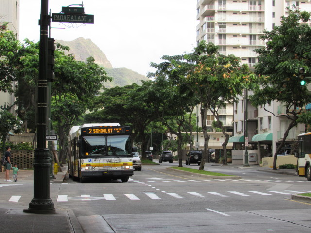 Route 2 takes passengers from Kapiolani Community College to Kalihi and has stops along Kuhio Avenue almost every two blocks.