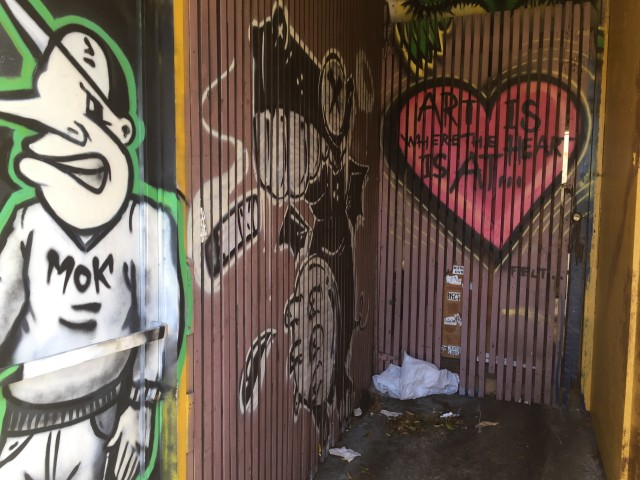 Graffiti art decorates many Kaimuki stores.