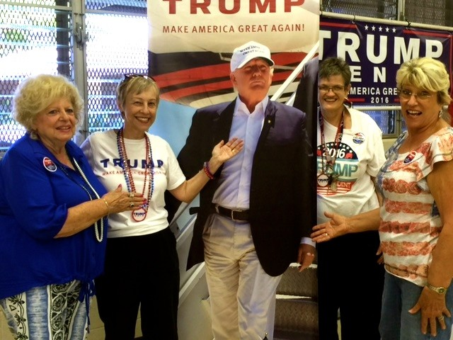 Women Trump supporters at the rally. Left to right. Stella Faught, Dr. Judy Franklin, Beverly Toomey and Cathy Weinberg