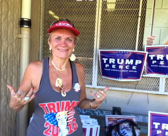 "Adrienne King, Donald Trump supporter, at the ""Great American Rally"" sponsored by the Honolulu County GOP at Kailua District Park on Saturday."
