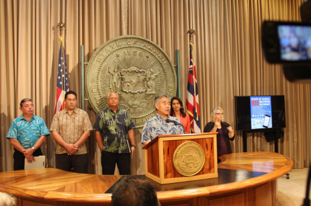 Gov. Ige held a press conference to unveil the new text-as-911 service.