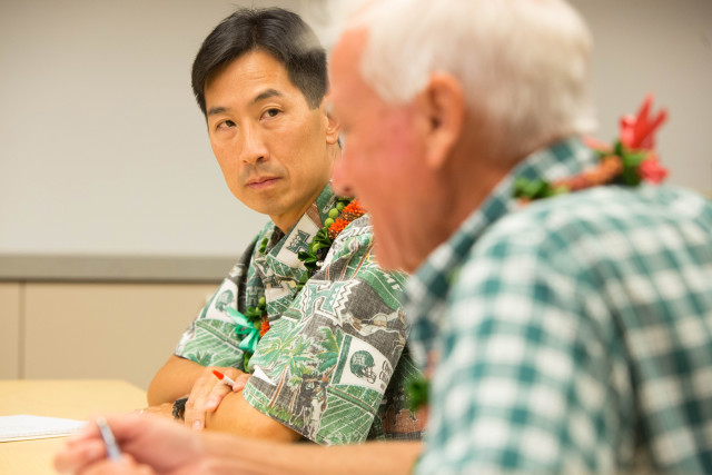 Charles Djou stares down his opponent, Kirk Caldwell during AARP Hawaii''s tele-town hall on Oct. 1.