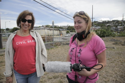 Civil Beat Editor Patti Epler, left, and reporter Jessica Terrell learned to be audio reporters for the new Offshore podcast. First field reporting trip: the Kalihi cemetery where Joseph Kahahawai is buried.