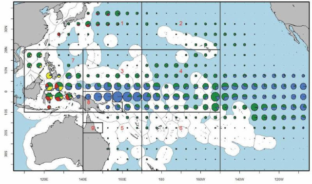 Wespac members looked at the distribution of bigeye catch (2003-2012) by method (longline green, purse-seine blue, pole-and-line red and other yellow) and sub-regions (boxes) used in bigeye stock assessments.