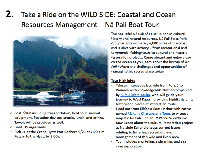 A scenic boat tour advertised in the planning program.