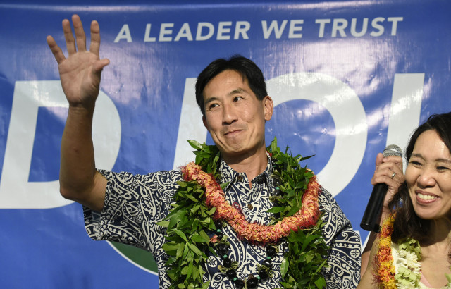 Charles Djou addresses his supporters, Tuesday, November 7, 2016 at the Pearl City Country Club in Hawaii. (Civil Beat photo by Ronen Zilberman)