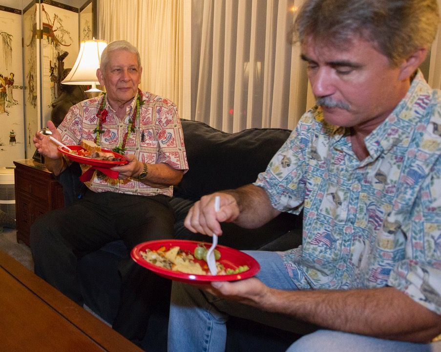 <p>At his campaign manager&#8217;s home in Aina Haina, state Sen. Sam Slom, left, enjoyed dinner with Bill Modglin. Slom lost his re-election bid, leaving the Hawaii Senate with zero Republicans. — Eugene Tanner/Civil Beat</p>