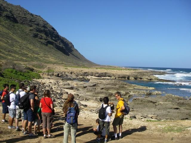 Hikers at Kaena Point.