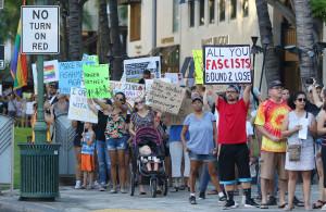 Anti-Trump Protest In Waikiki: Peace, Aloha And 'Rebellion'