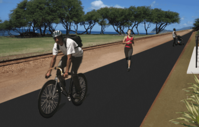 An artist's rendering of a section of the proposed Leeward Bikeway, which has been in development since 1977.