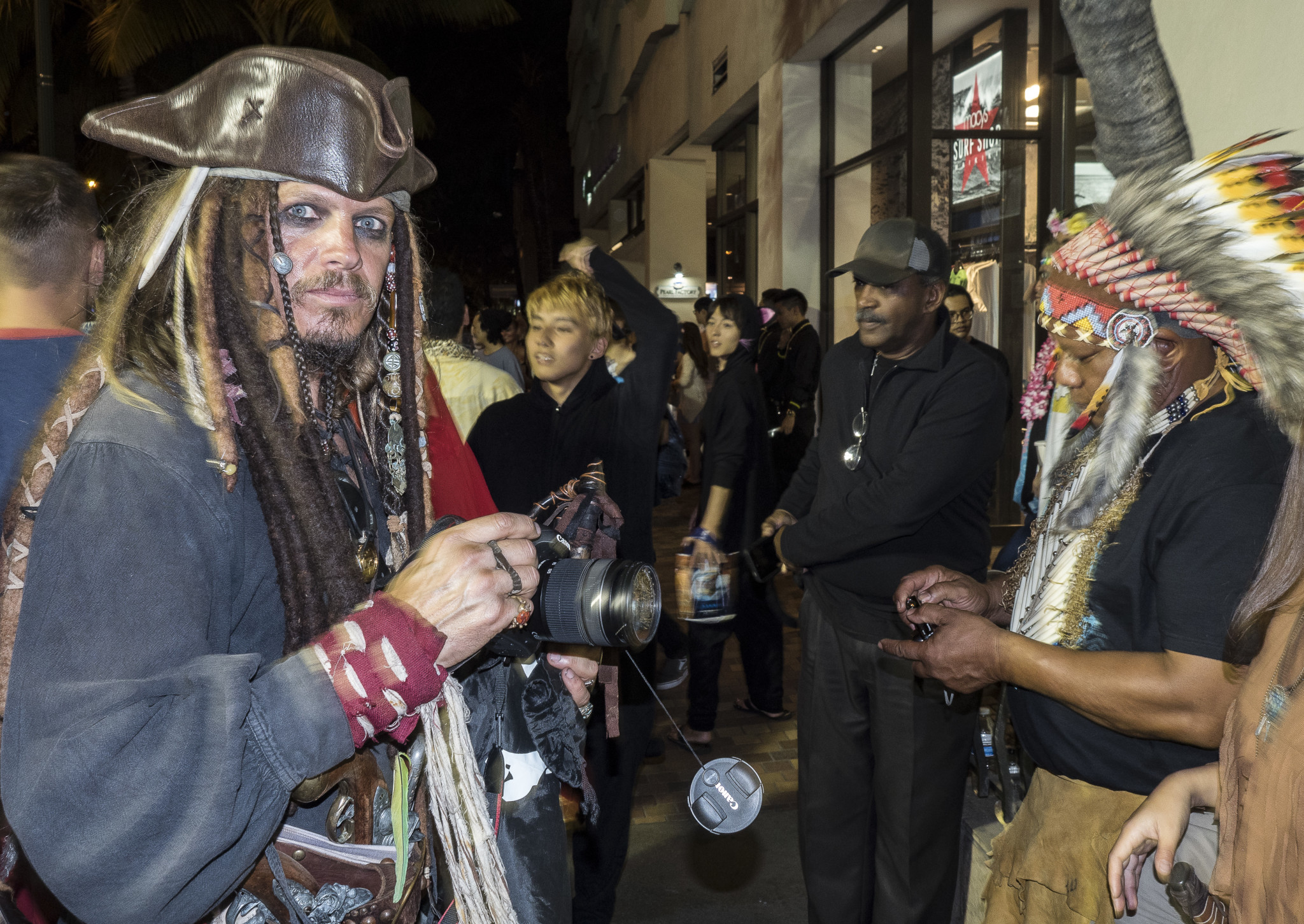 <p>It wasn&#8217;t all politics on Kalakaua Avenue. One celebrant was channeling pirate captain Jack Sparrow of &#8220;Pirates of the Caribbean&#8221; cinema fame.</p>