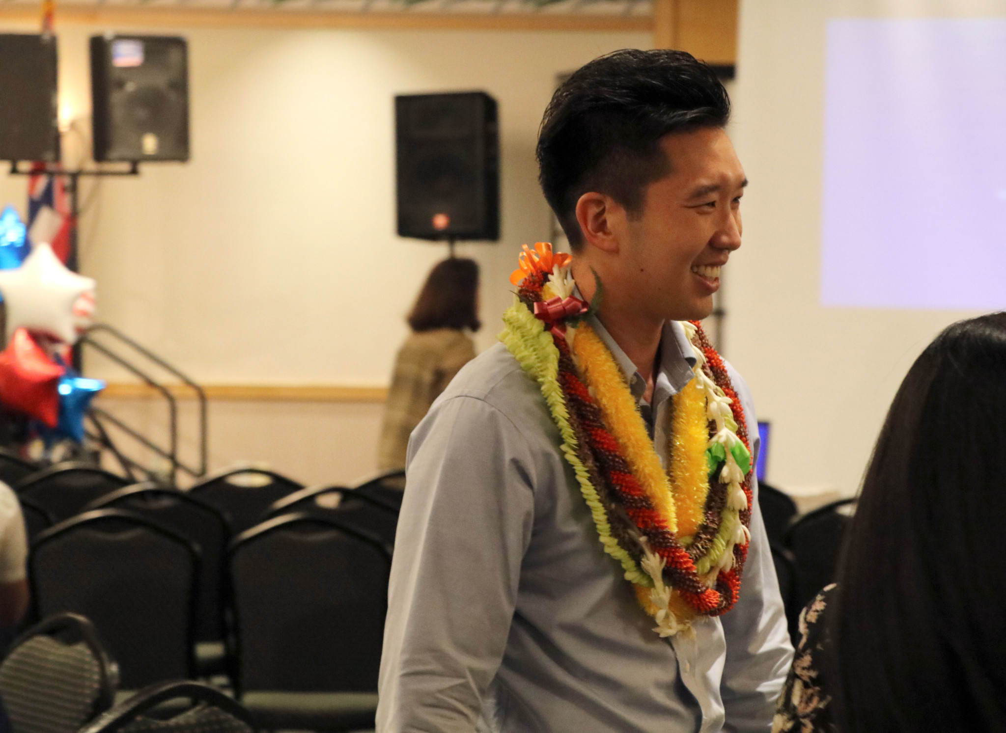 <p>Stanley Chang, who defeated Slom, arrived at Democrats&#8217; election night party at the Japanese Cultural Center. — Nathan Eagle/Civil Beat</p>