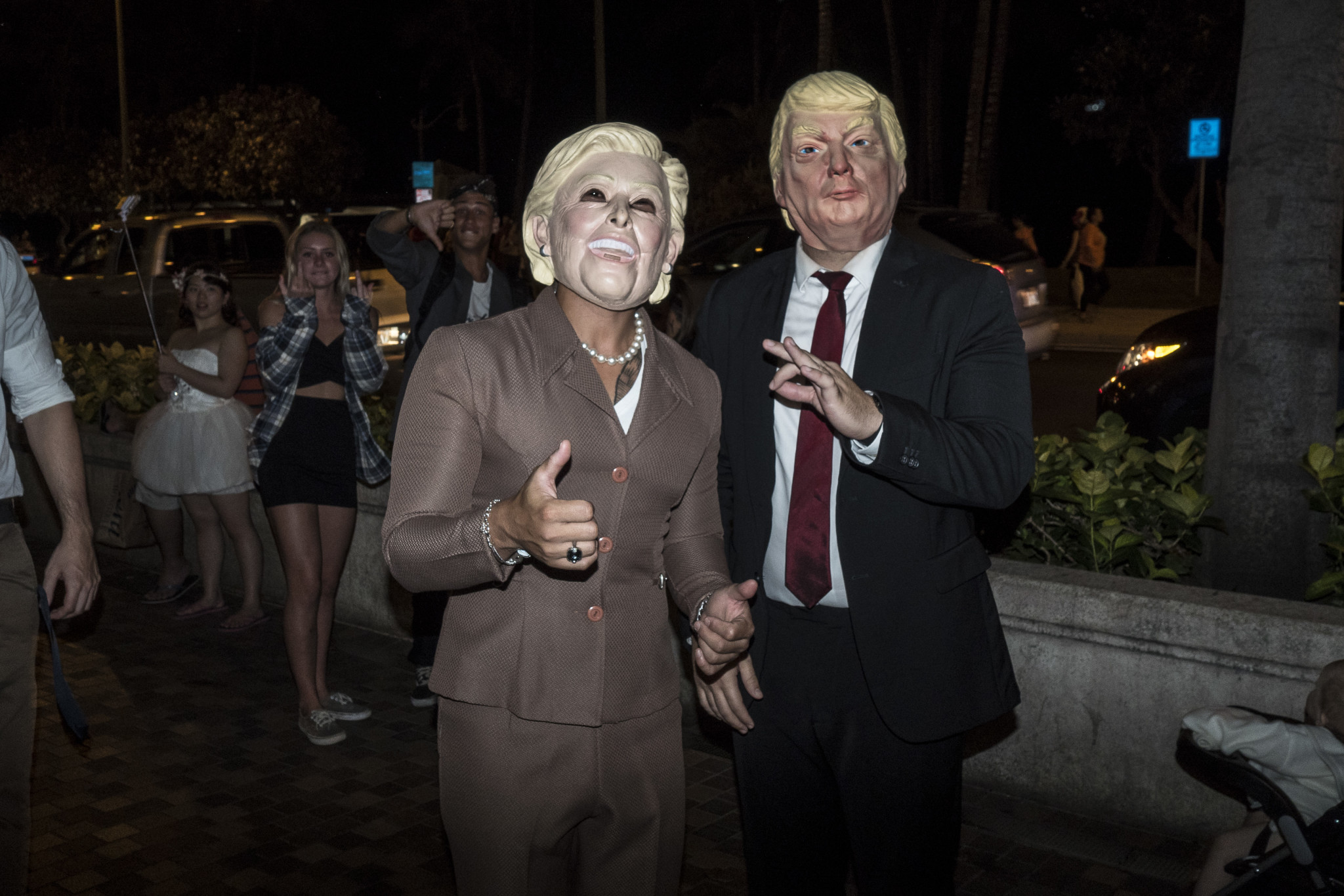 <p>This year&#8217;s presidential campaign has been scarier than usual, so Hillary Clinton and Donald Trump costumes seemed right at home.</p>