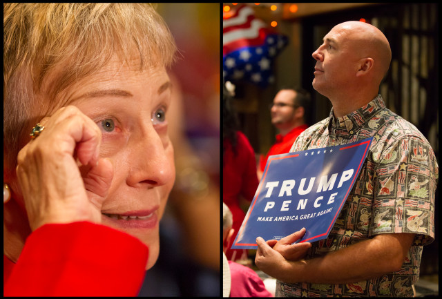 Left. Donald Trump supporter Judy Franklin of Honolulu wipes away tears of joy after Donald Trump was declared the winner of the Presidential election Tuesday night. Trump supporters, including Arthur Yri of Kapolei, right, gathered at the Irons Table Tavern bar near Pearl Harbor to watch the votes come in.