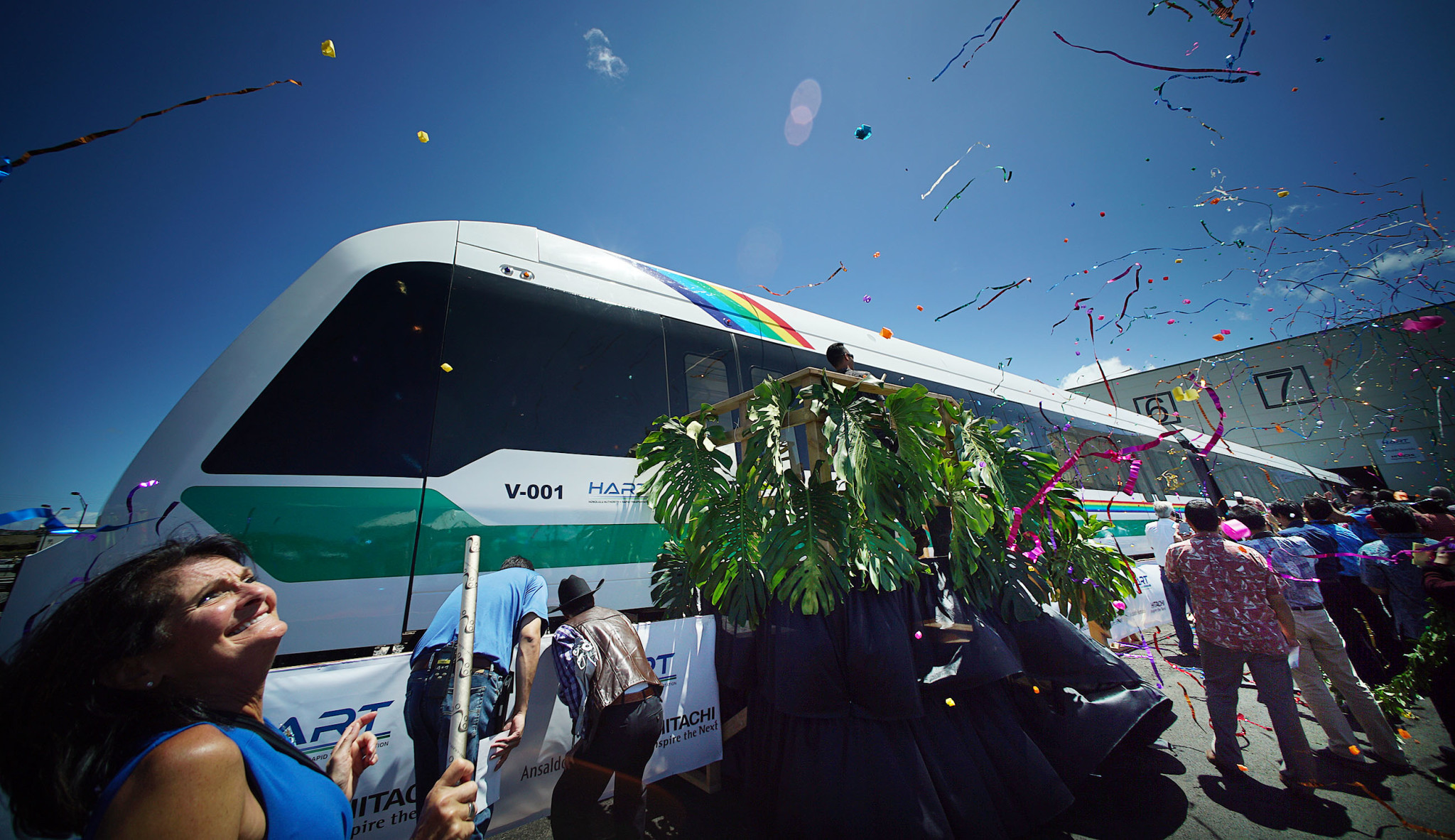 <p>May 2: Confetti flies during a celebration of the arrival of the first Honolulu rail car. But construction costs continued to climb all year, raising doubts about when the project will be done, how far the route will stretch and how it will all be paid for. <em>Cory Lum/Civil Beat</em></p>