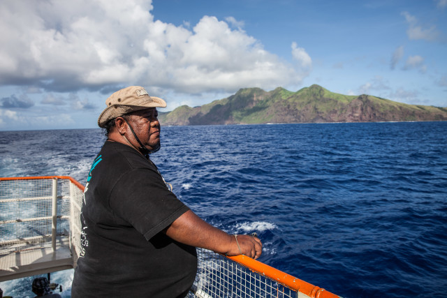 Diego Kaipat looks out at Pagan as he approaches the island. He goes up for months at a time when the weather permits and he can catch a ride on a boat.