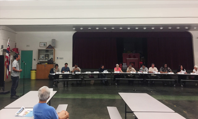 Kepo'o Keli'ipaakaua testifies at neighborhood board meeting about dole st.