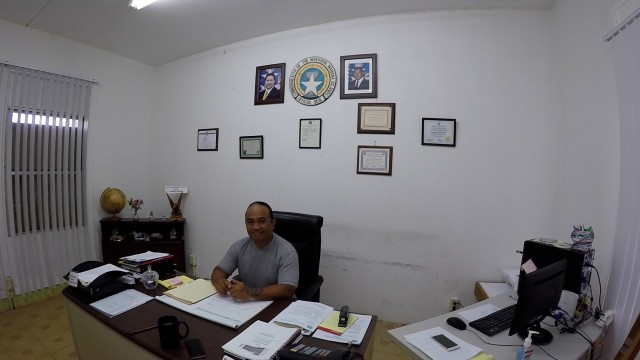 Jerome Aldan sits in his office on Saipan. He's the mayor of the Northern Islands, a group of undeveloped islands in the Marianas that include Pagan.
