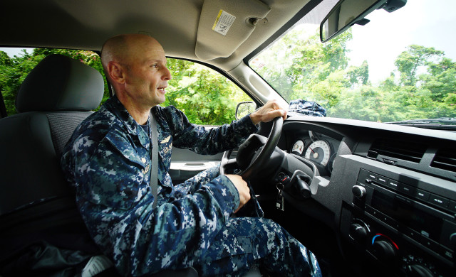 Marianas Guam Naval Base Commander Capt Hans Sholley giving us a tour in his truck around the base. Guam. 22 aug 2016