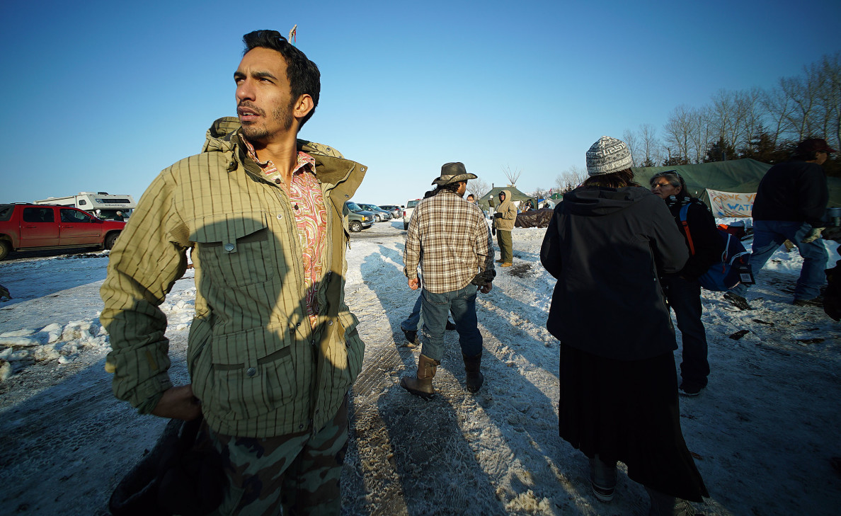 Marine veteran Leomana Turalde stands in Camp Rosebud on his first day looking at the Standing Rock camp area. 3 dec 2016