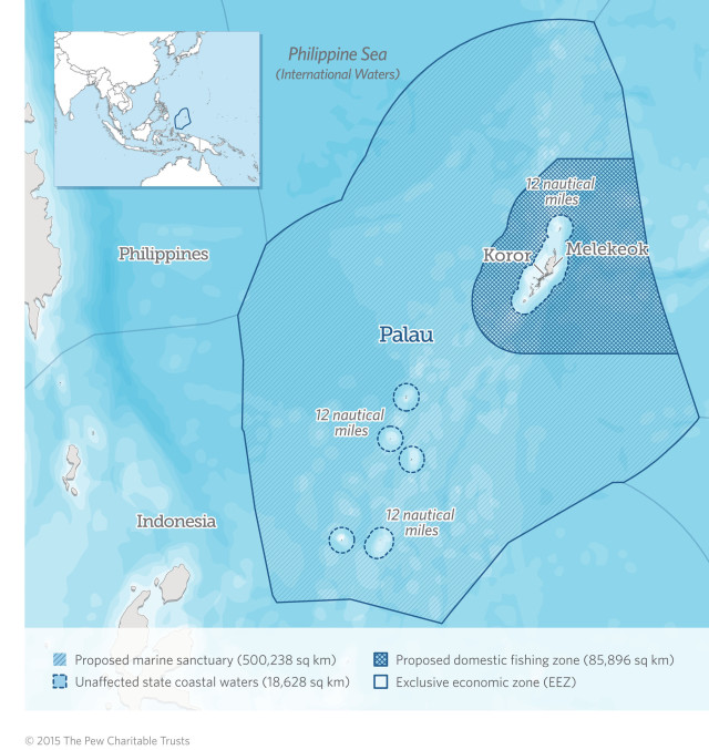 "The creation of the national marine sanctuary makes Palau the first country to declare the waters of its entire exclusive economic zone (EEZ) a marine protected area, with an integral part of the sanctuary a fully protected ""no take"" zone of 500,000 square kilometers (193,000 square miles). (PRNewsFoto/The Pew Charitable Trusts)"