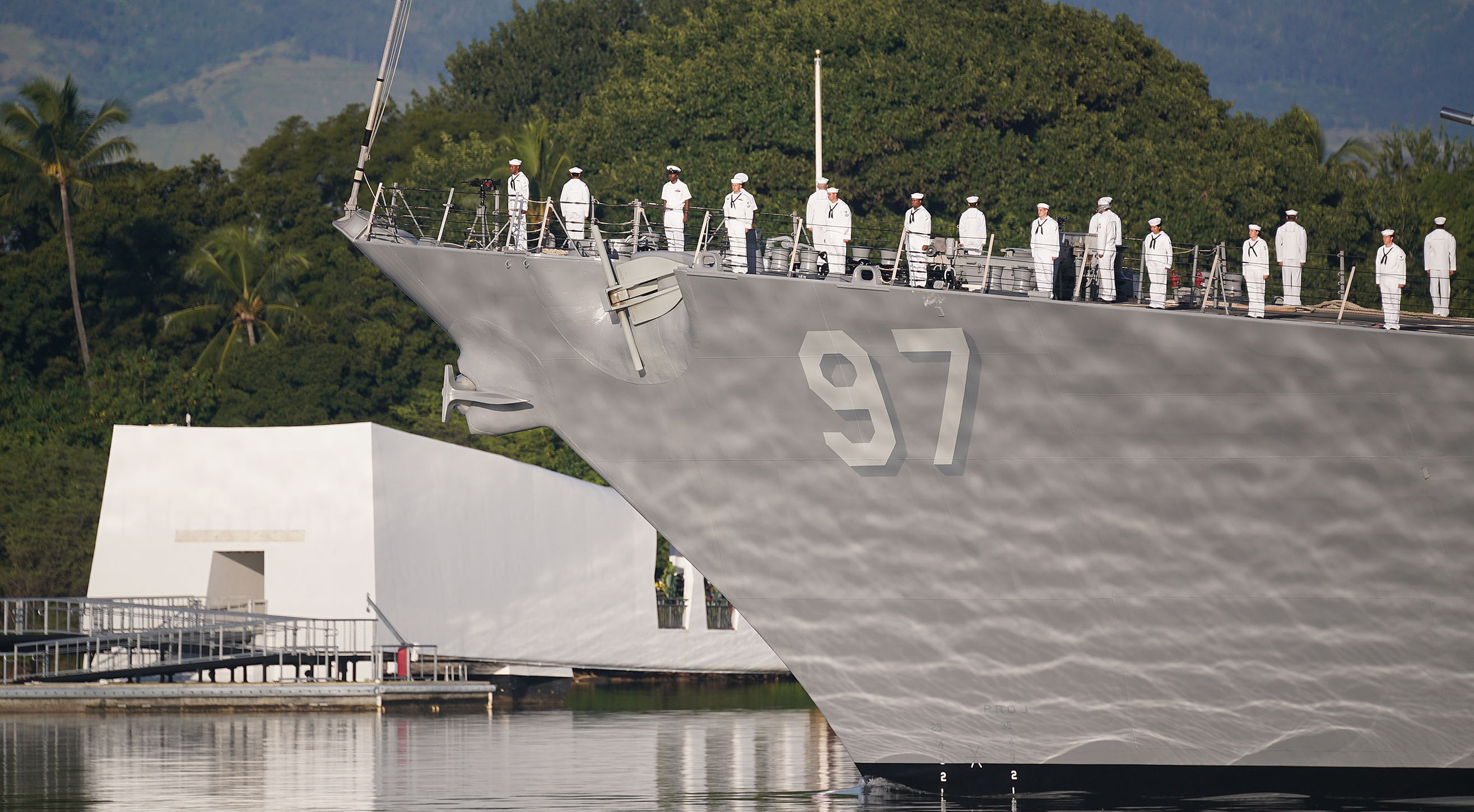 <p>The destroyer USS Halsey sailed past the USS Arizona Memorial in a pass-in-review during the ceremony. The destroyer was named in honorof Fleet Adm. William Halsey Jr., who commanded the aircraft carrier USS Enterprise that was based at Pearl Harbor but at sea during the attack.</p>