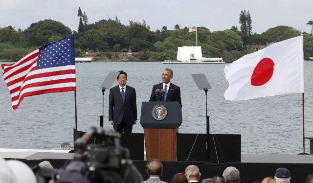 Prime Minister Abe President Obama USS Arizona. 27 dec 2016