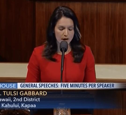 Congresswoman Tulsi Gabbard speaks on the House floor Thursday morning.