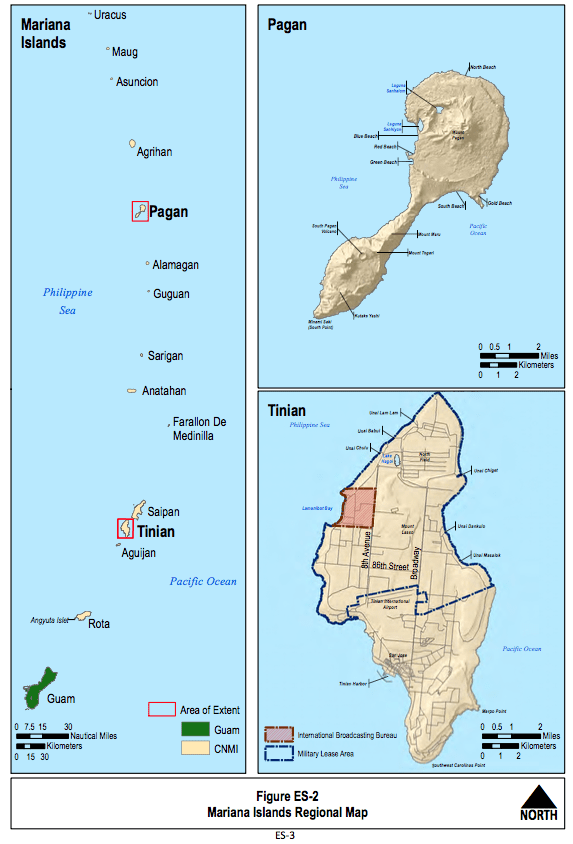 This map shows the Navy's plans to increase training on Tinian and Pagan. It's one of several plans to increase training that the Department of Defense has proposed over the past six years.