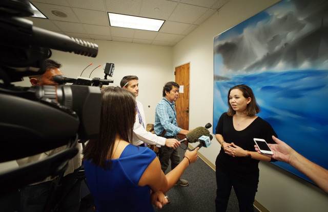 Senate Ways and Means Chair Jill Tokuda speaks to media regarding Gov Ige's budget announcement. 19 dec 2016