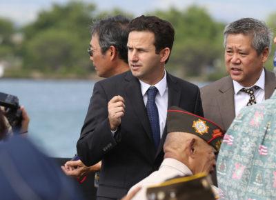 Senator Brian Schatz Pearl Harbor before speeches. Kilo Pier. 27 dec 2016