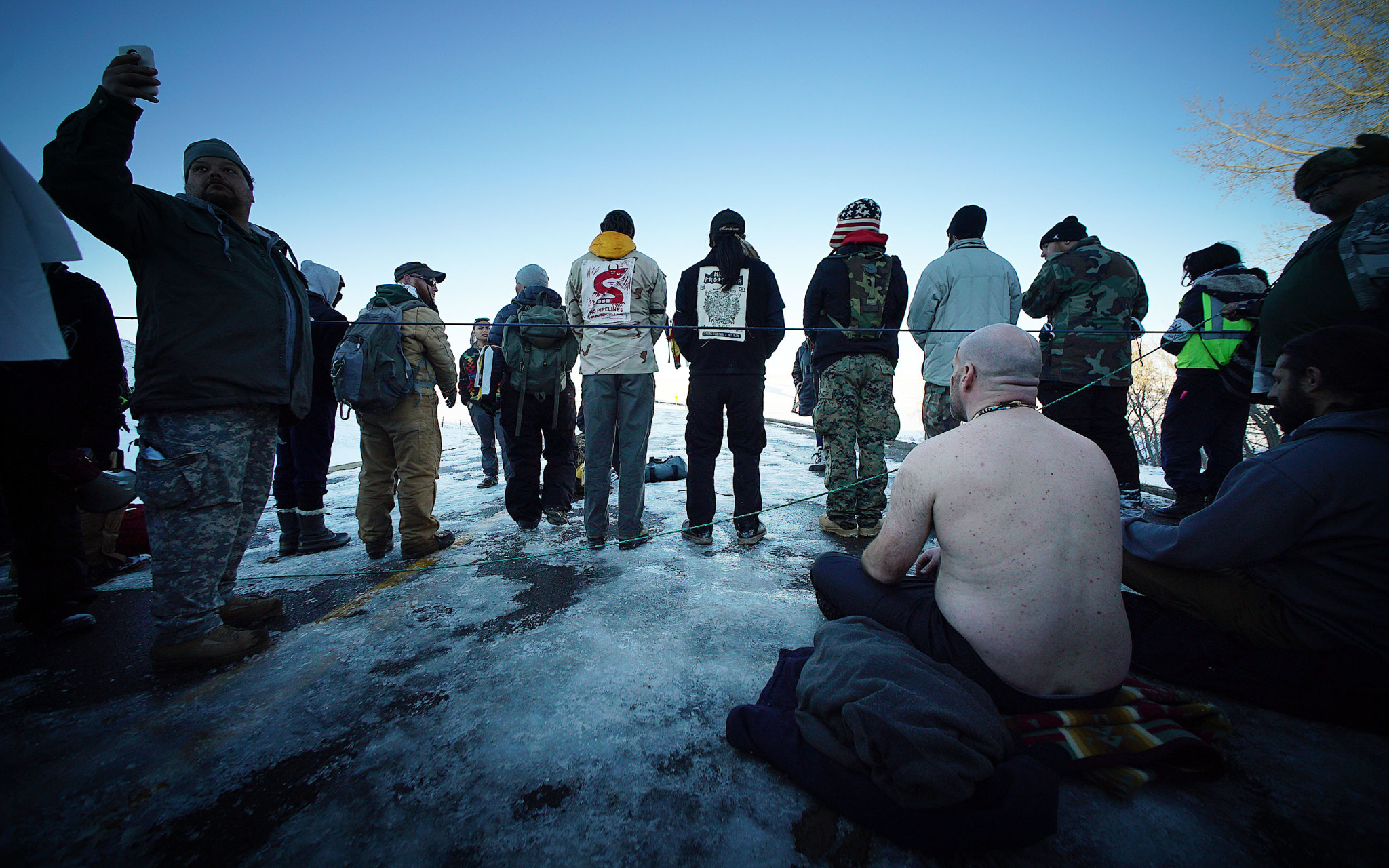 <p>They prayed near abarrier along the highway.</p>