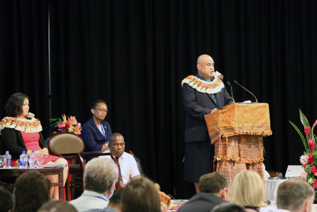 Western and Central Pacific Fisheries Commission Executive Director Feleti Teo addresses hundreds of scientists, government officials, nonprofit leaders and others Dec. 5, 2016, at the Sheraton Fiji Resort.